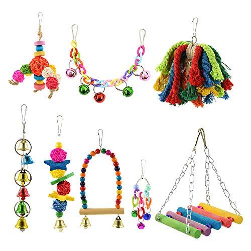 Furpaw 8 Stück Vogelspielzeug, Vögel Spielzeug Wellensittich Holz Hängende Kauen Barsch Spielen, Hängematte Schaukel für Den Käfig