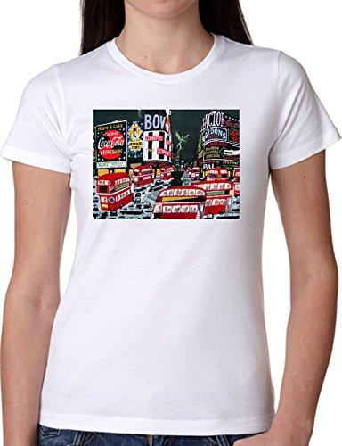 T SHIRT JODE GIRL GGG22 Z2292 NEW YORK URBAN STYLE CITY SKYSCRAPER FUN FASHION COOL BIANCA - WHITE