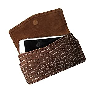 i-KitPit : PU Leather Pouch Case With Magnetic Closure For Micromax Canvas 2 A110 / A110Q (BROWN)