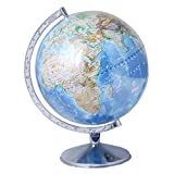#3: Excel Globe Physical World Globe 12 Inch, Steel Arc And Base - Blue