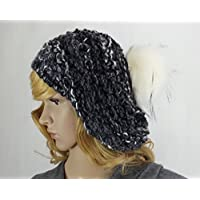 Mütze mit Kunst-fellbommel Baskenmütze Strickmütze handgestrickt
