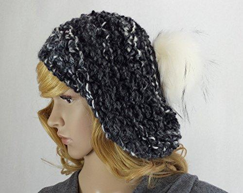 Mütze mit Kunst-fellbommel Baskenmütze Strickmütze handgestrickt (Klassische Schwarze Wolle Baskenmütze Mütze)