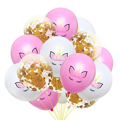 EVEYYQIU Die neuesten 12-Zoll-Einhorn Pailletten Konfetti Latex Ballon Set Geburtstagsfeier Dekoration, 5 weiß + 5 Pulver + 5 goldene Konfetti Paket 2 -