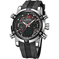 Alienwork DualTime Analogue-Digital Watch Chronograph LCD Wristwatch Multi-function Polyurethane black black OS.WH-5205J-04