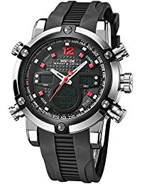 Alienwork DualTime Reloj Digital- Analógico Cronógrafo LCD Multi-función Poliuretano negro negro OS.WH-5205J-04