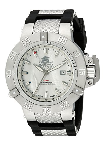 Invicta Men's 0737 Subaqua Noma III GMT White Mother-Of-Pearl Black Rubber Watch image