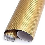 Sticker - SODIAL(R)3D Struktur fuehlbare Struktur DIY 30x127cm 3D Car Wrapping Carbon Fiber Folie Aufkleber Klebe Dekor fuer KFZ Auto iPhone6S Gold