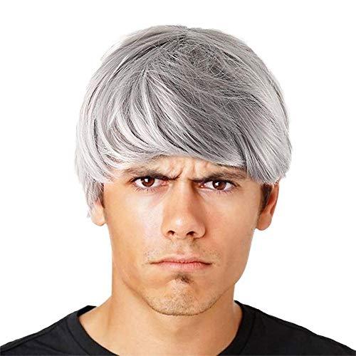 8 Cm Kurze (Tonsee Herren Perücke Natürlich Perrücke Blond Kurz 8 cm Gerade Layered Zweifarbig Wig für Cosplay Alltag Halloween Karneval Party Mann Men Wig)