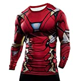 born2ridetm Superhero Fancy Kleid/Gym/Radfahren kurzärmligen Kompression Baselayer T-Shirt Tops Gr. X-Large, New Ironman