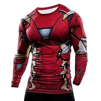 Samanthajane Clothing LTD BORN2RIDETM Superhero Fancy Dress/Ginnastica/Ciclismo a Compressione a Maniche Corte, da Uomo New Ironman S