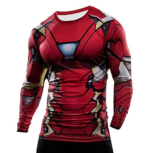 Born2RideTM Shirt im Superheld-Kostüm für Fitnessstudio/Radsport, Compression Baselayer T-Shirt mit kurzen Armen für Herren Gr. L, New Iron Man Long Sleeved