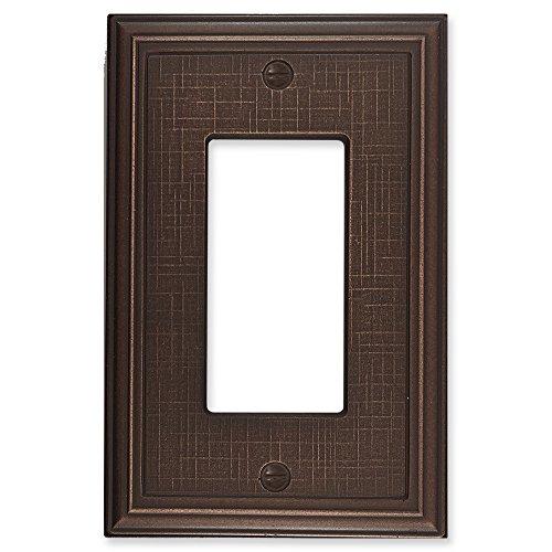 Leinen strukturiert Metallic Dekorative Switch Plate/Wandplatte/Auslass Cover Single Decorator - 3 pack Oil Rubbed Bronze (Light Switch Wall Plate)