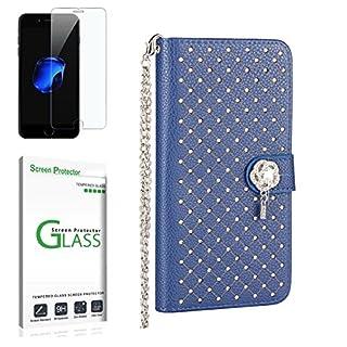 Penlicraft Sony Xperia Z5 Mini Hülle [mit Panzerglas],Sony Xperia Z5 Mini Handyhülle, PU Leder [Stern im Himmel] Glitzer Bling Diamond Starry Sternennacht Handyhüllen für Sony Xperia Z5 Mini(Blau)