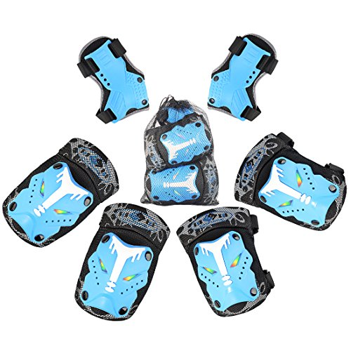 FOKOM 6er Kinder Schonerset Pad Set Knieschoner Ellenbogenschützer Handgelenkschoner Schützer (Radfahren Schocks)