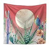 """Tapiz decorativo GT11 de QEES, diseño de piña, para colgar en la pared, decoración para el hogar, para dormitorios, salones o como manta para playa, Cactus 4, 79"""" W * 59"""" H"""