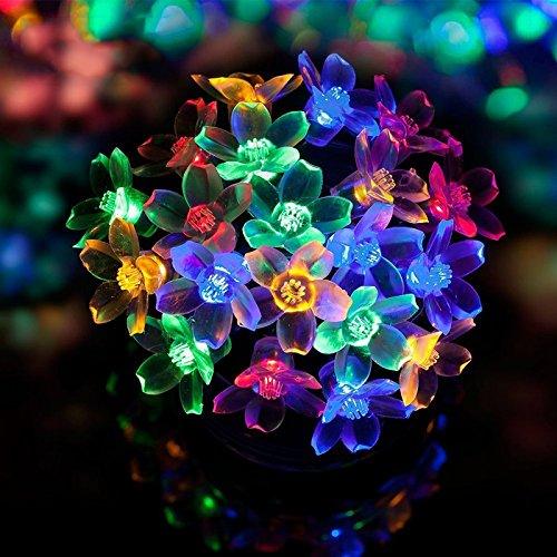 LEDGLE 7M Solar Lichterkette LED Blumen String Licht, 50 LED Lichter,4 Farben 8 Leucht-Modi, 8 Beleuchtungsmodi, IP65 wasserdicht - 3
