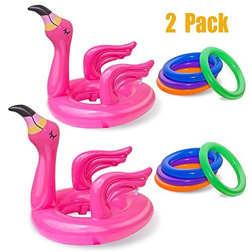 ReNice 2Pack Flamingo Aufblasbar Ringwurfspiel, Pool Ringe Toss Spiele mit 8 Ringe für Geburtstagsparty Pool Party