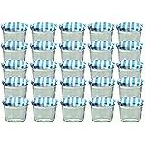 25er Set Sturzglas 230 ml Marmeladenglas Einmachglas Einweckglas To 82 blau karrierter Deckel
