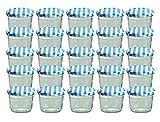 Set di 25 vasetti in vetro, per marmellate e conserve, 230 ml, coperchio avvitabile a quadretti blu, 82 mm