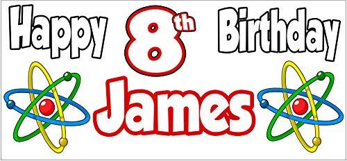 AK Giftshop Personalisierbares Science Atom Themed Birthday Banner - Poster - Party Dekorationen - Jungen - Mädchen - Herren - Damen - Sohn - Tochter - Enkel - Mutter - Vater - Großmutter - 2 Stück