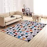 Mengjie Modern Hochflor Shaggy Teppich Farbiges Dreieckgitter für Wohnzimmer,Schlafzimmmer,Kinderzimmer,Esszimmer,160 * 230CM