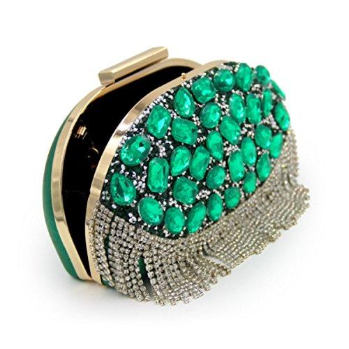Cristallo Di Lusso Pacchetto Sera Borsa Di Diamante Banchetto Delle Donne Green