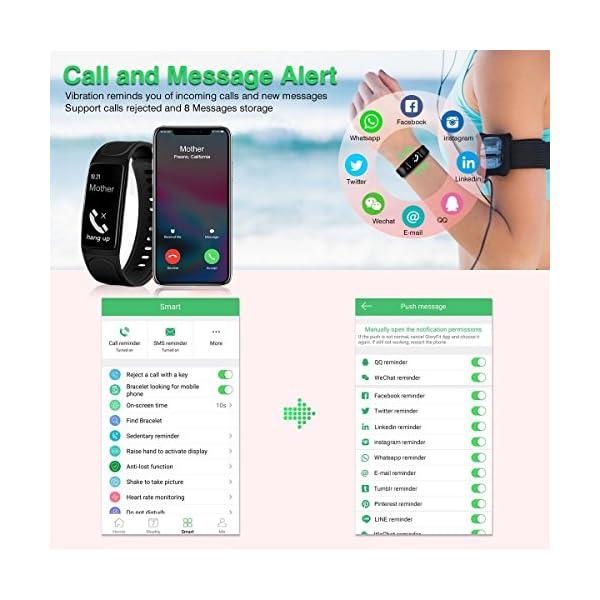 Pulsera de Actividad, ELEGIANT Reloj Inteligente Bluetooth 4.0 Monitor de Hombre Mujer IP67 Brazalete de OLED Pantalla Análisis de Calorías y Dormir Compatible para Android iOS Negro 5