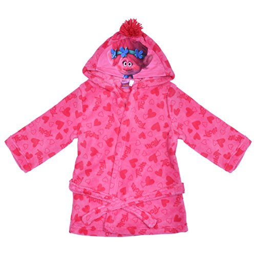 Dreamworks Trolls Pink Fleece Dressing Gown Hearts Girls Hooded Robe Age 2-3