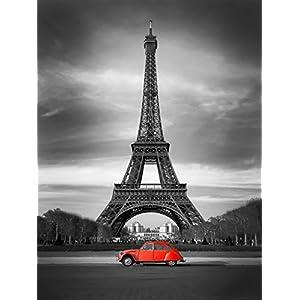 Postereck - 0437 - Paris, Eiffelturm mit Rotem Auto - Poster 60.0 cm x 45.0 cm