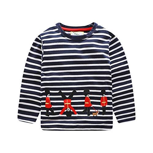 Giulogre Chemise à Manches Longues Sports Coton Casual Infantile Blouse Tops Rayures Imprimé Mode pour 18 Mois - 6 Ans Enfants Bébé Garçons