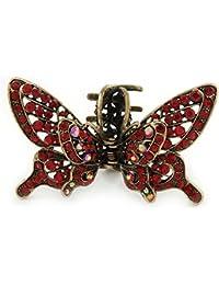 Estilo Retro inspirada en rojo diseño de mariposa con cristales con funda para alas pelo pinza para en oro antiguo tono–85mm de ancho