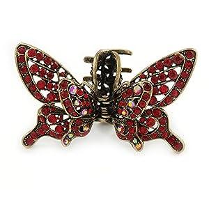 Avalaya Haarspange mit roten Kristallen, Schmetterling-Design, Antik-Goldton, 85 mm im Querformat