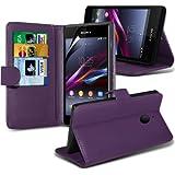 (Lila) Sony Xperia E1 Faux Credit / Debit Card Leder Book Style Tasche Skin Case hülle Cover & LCD Screen Protector Guard exklusiv für Spyrox