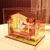 ToDIDAF Hölzernes Puppenhaus 3D DIY Miniaturhaus Möbel LED Haus Puzzle Geschenke für Kinder Familie Freund Für die Hochzeit Schlafzimmer Zuhause Garten Dekor - 1 x DIY Holzhaus Kit (Pfirsich Haus)