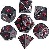 Lega di zinco Dadi Metallo Poliedrici 7-Die Dice Set per Dungeons and Dragons RPG Gioco dei Dadi D&D Insegnamento della Matematica, d20, d12, 2 Pezzi d10 (00-90 e 0-9), d8, d6 e d4 (Nero e Rosso)