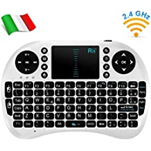 Rii Mini i8 Wireless (layout ITALIANO) - Mini tastiera wireless ergonomica con mouse touchpad per Smart TV, Mini PC, HTPC, Console, Computer - BIANCO