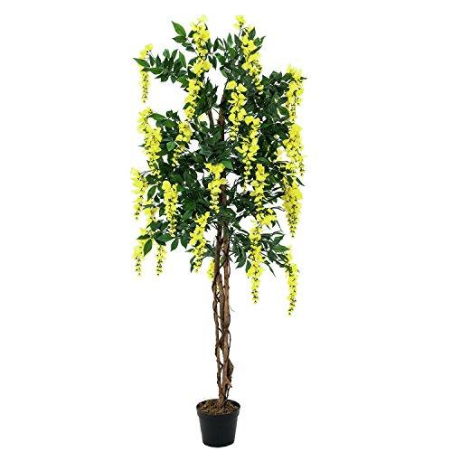 artplants – Künstlicher Goldregenbaum, 1370 Blätter, Echtstamm, 820 Blüten, gelb, 150 cm – Kunststoff Baum blühend/Deko Blumen