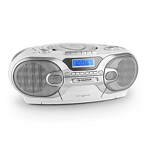 auna RCD 230 • CD-Radio • Boombox • Küchenradio • CD- / MP3-Player • Kassettendeck • MP3-fähiger USB-Port und SD-Slot • UKW-Tuner • AUX-Eingang • Digital-Anzeige • Wiedergabeprogrammierung • Bass-Boost-Funktion • Netz- / Batterie-Betrieb • tragbar • (Anzeige Mat)