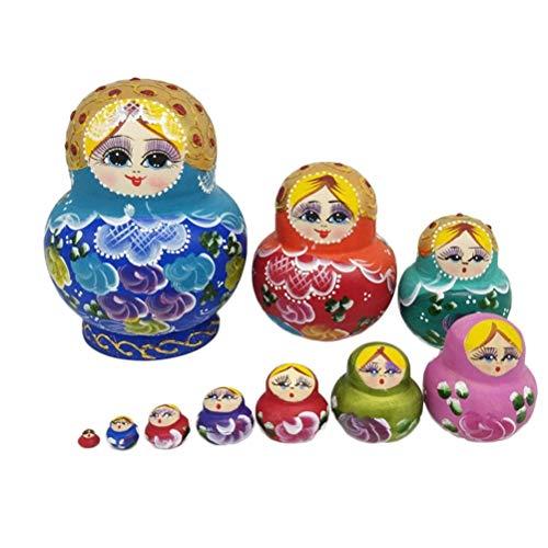 Matroschka Kostüm Russische - JJSFJH Russische Nistpuppen Fleißiges Mädchen 10-teilige Matroschka Bunte Stapelspielzeugpuppe