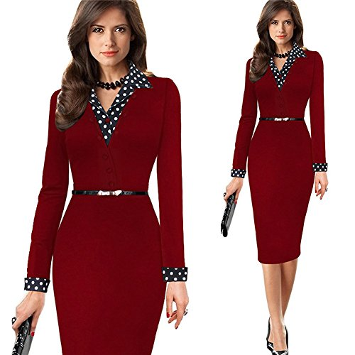 Clasichic Damen Langarm Etuikleid Shirtkleid Cocktailkleid Midikleid Business Kleider mit Gürtel und Polka Dots Revers Gr.36-46 Rot