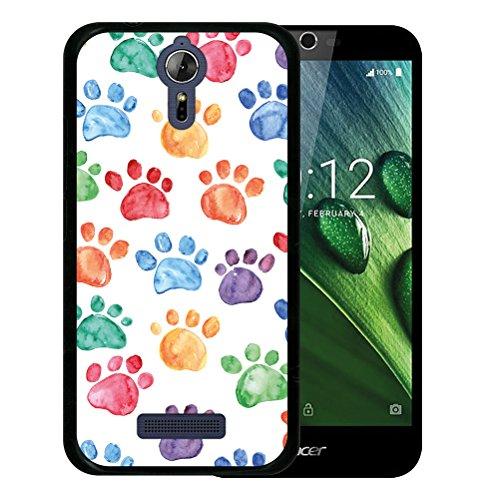 WoowCase Acer Liquid Zest Plus Hülle, Handyhülle Silikon für [ Acer Liquid Zest Plus ] Hund Fußabdruck Handytasche Handy Cover Case Schutzhülle Flexible TPU - Schwarz