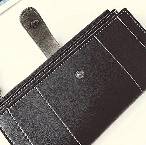 Longra pu di hasp lungo ricamate a mano del signore borsa borsa Nero