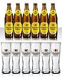 Die riesen König Ludwig Weissbier Vielfalt mit 6x0,5 L Bierflasche Weissbier und 6 Stück Gläser 0,5l