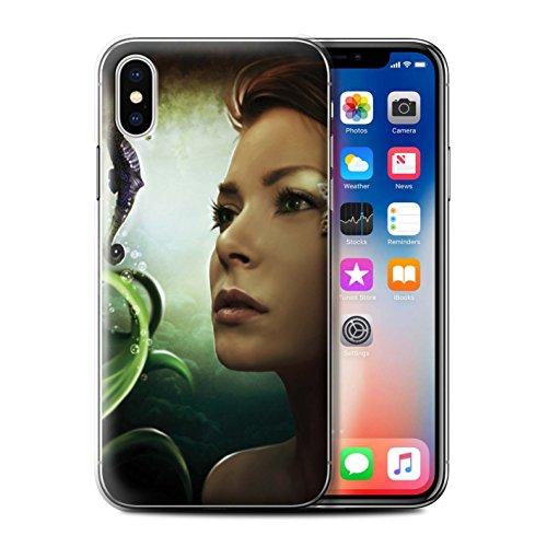 Offiziell Elena Dudina Hülle / Case für Apple iPhone X/10 / Tiefsee/Seepferdchen Muster / Agua de Vida Kollektion Tiefsee/Seepferdchen