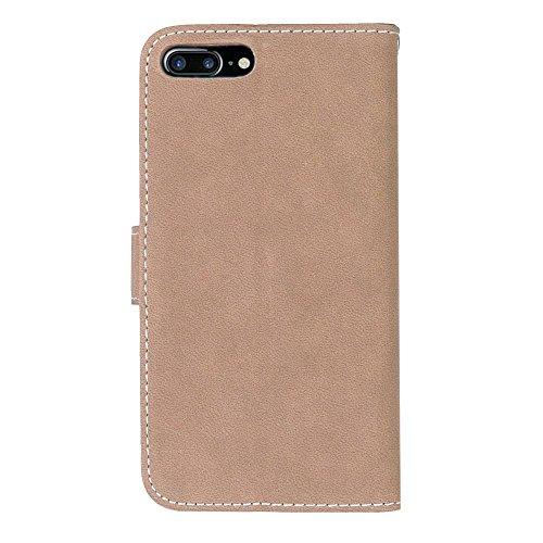 Voguecase® für Apple iPhone 7 4.7 hülle,(London Bus) Kunstleder Tasche PU Schutzhülle Tasche Leder Brieftasche Hülle Case Cover + Gratis Universal Eingabestift Retro bereift/Beige