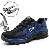 SUADEEX Damen Herren Sicherheitsschuhe Sportlich Trekking Wanderhalbschuhe Stahlkappe Arbeitsschuhe Hiking Schuhe Traillaufschuhe, 05-blau, 46 EU
