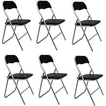 La Silla Española - Pack 6 Sillas plegables de aluminio con asiento y respaldo acolchados en