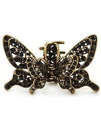 Estilo Retro inspirada en Negro Diseño de mariposa con cristales con funda para alas pelo pinza para en oro antiguo tono–85mm de ancho