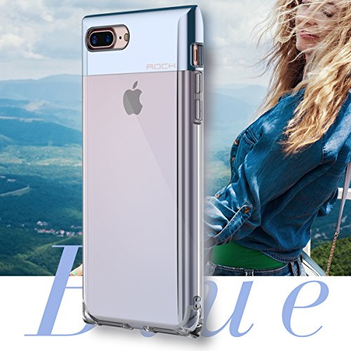 Custodia iPhone 8/7 Case,ROCK Serie Bottiglia di Profumo Telefono Caso,[Elegante][Ragazza][Carino][Romantico][PC+TPU][Trasparente]per Apple iPhone 8/7(4.7inch) - Nero Blu