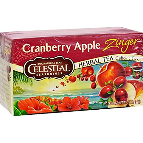 Celestial Seasonings - mirtillo Apple Zinger Herb Tea senza caffeina - 20 bustine di tè